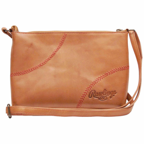 Vintage Tan Leather Baseball Stitch Cross Body Minibag Purse by Rawlings<br>RETIRED DESIGN!<br>ONLY 4 LEFT!