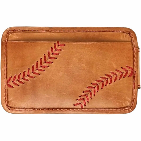 Vintage Tan Leather Baseball Stitch Front Pocket Wallet with Money Clip by Rawlings