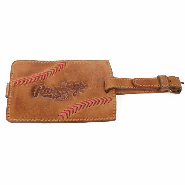 Vintage Tan Leather Baseball Stitch Luggage Tag by Rawlings