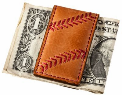 Rawlings Tan Leather Baseball Stitch Magnetic Money Clip<br>LESS THAN 6 LEFT!
