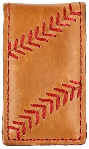 Vintage Tan Leather Baseball Stitch Magnetic Money Clip by Rawlings<br>LESS THAN 8 LEFT!