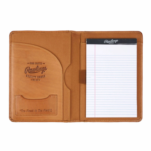 Vintage Tan Leather Baseball Stitch Mini Pad Folio/Tablet Case by Rawlings