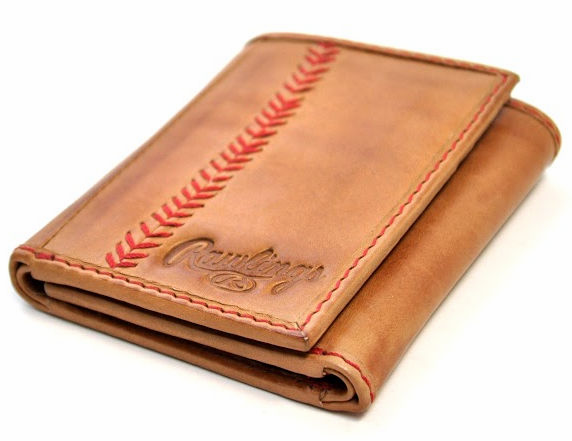 Vintage Tan Leather Baseball Stitch Trifold Wallet by Rawlings<br>LESS THAN 6 LEFT!