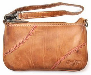 Vintage Tan Leather Baseball Stitch Wristlet / Mini Purse by Rawlings<br>LESS THAN 4 LEFT!