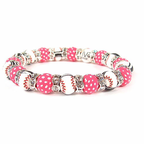Viva Beads Pink Baseball Bracelet<br>ONLY 1 LEFT