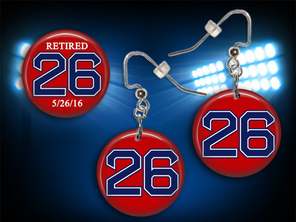 Wade Boggs #26 Collectible Button Earrings and Pin Set - RED