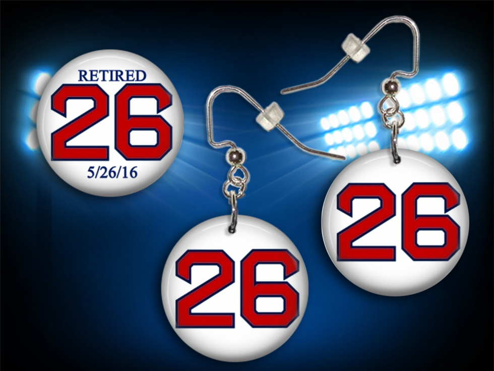 Wade Boggs #26 Collectible Button Earrings and Pin Set - WHITE