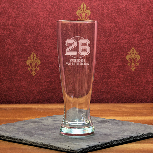Wade Boggs #26 Etched Baseball 23oz University Pilsner Glass