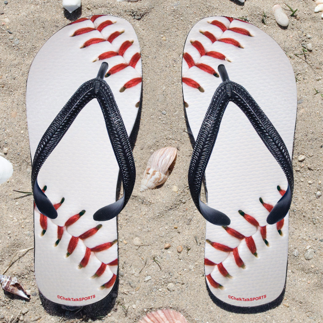 Kids Large White Baseball Flip-Flops
