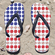 Baseball USA Flag Flip-Flops