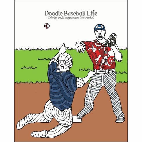 Doodle Baseball Life Adult Coloring Book