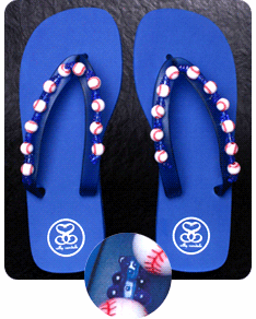 Royal Blue Baseball Flip-Flop Sandals<br>Women's Size 5