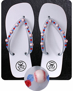 White Baseball Flip-Flop Sandals<br>Women's Size 5