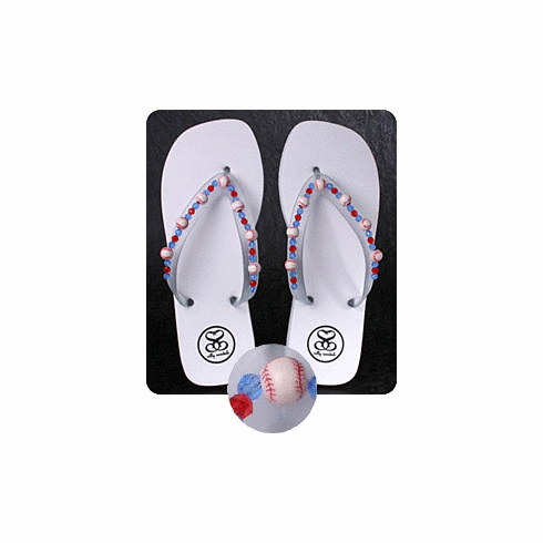 904c0c777709 White Baseball Flip-Flop Sandals br Women s Size 5