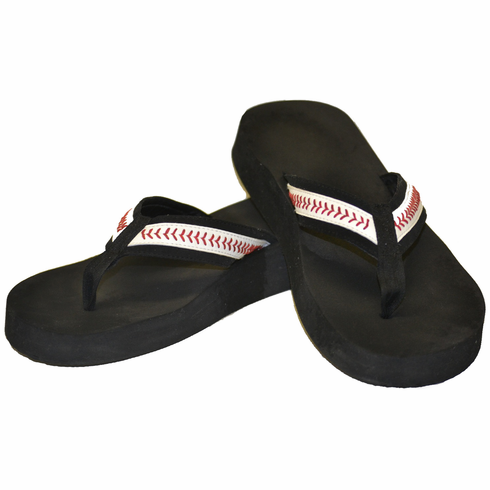 Black Baseball Youth Small Flip-Flop Sandals<br>LESS THAN 6 LEFT!
