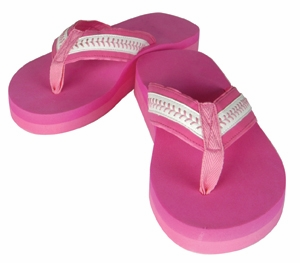 Pink Baseball Adult Small Flip-Flop Sandals