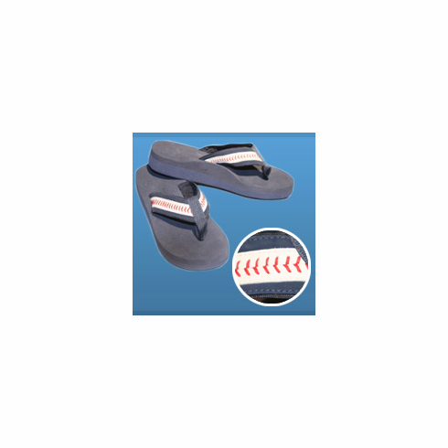 Navy Blue Baseball Youth Flip-Flop Sandals