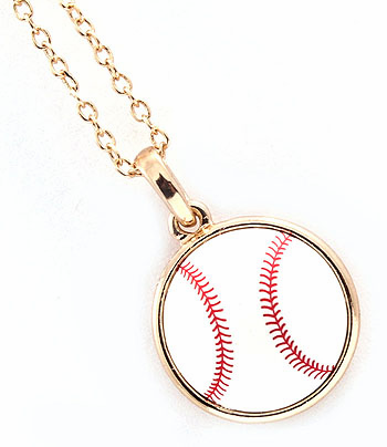 "White Baseball 18"" Gold Necklaces<br>2 Sizes!"