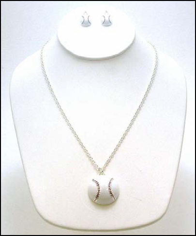 "White Baseball 18"" Necklace and Matching Hook Earrings"