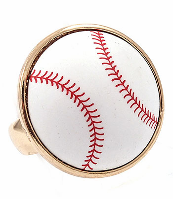White Baseball Adjustable Gold Ring
