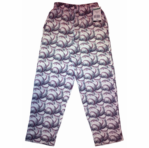 White Baseball Adult Small Baggy Lounge Pants<br>ONLY 3 LEFT!