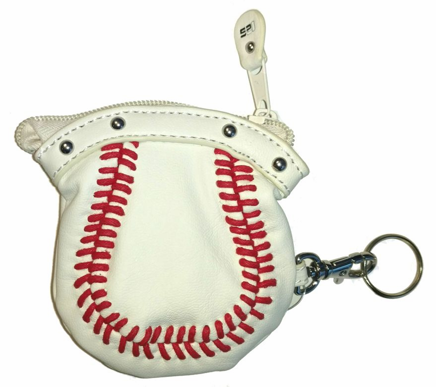 White Baseball Coin Purse with Key Ring