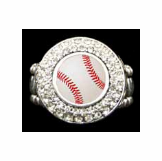 White Baseball Crystal Stretchy Ring