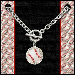 White Baseball Crystal Toggle Bracelet