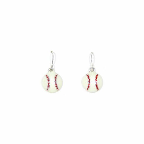 White Baseball Dangle Earrings