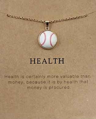 White Baseball Gold Necklace