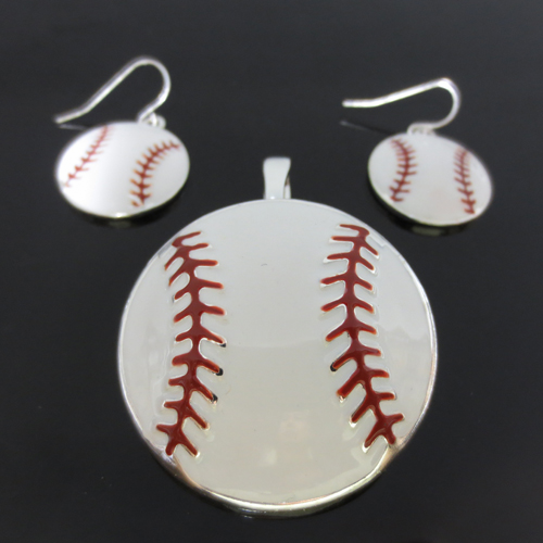 White Baseball Large Pendant and Earrings Set<br>ONLY 4 SETS LEFT!