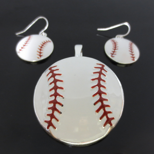 White Baseball Large Pendant and Earrings Set<br>ONLY 5 SETS LEFT!