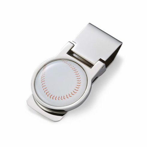 White Baseball Silver Money Clip