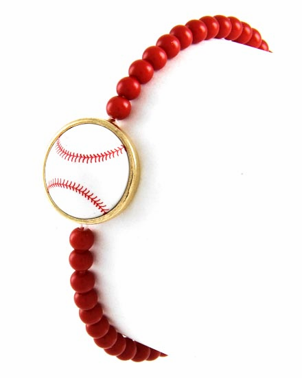 White Baseball Red Stretchy Bracelet