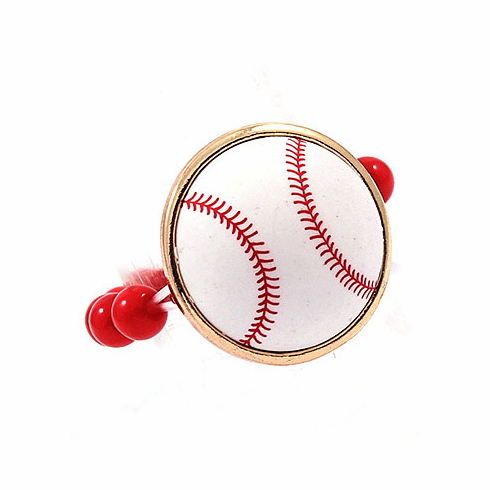 White Baseball Red Stretchy Ring