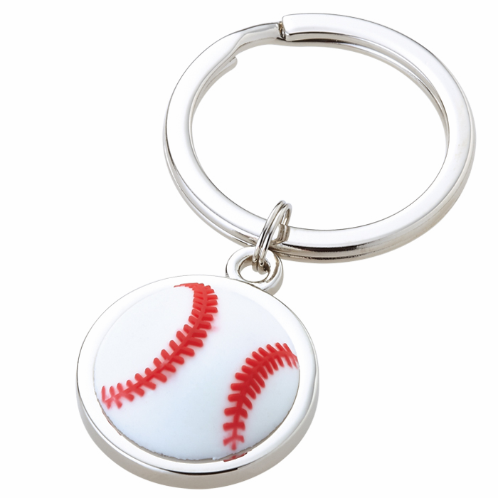 White Baseball Silver Key Ring