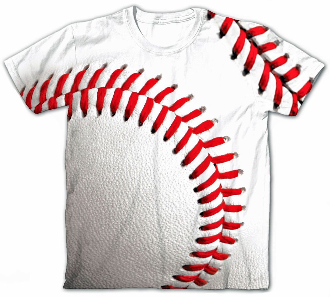 White Baseball Sublimated T-Shirt<br>Youth Lg to Adult 3X