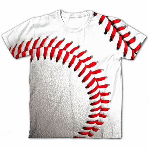 White Baseball Sublimated T-Shirt<br>Youth Med to Adult 3X