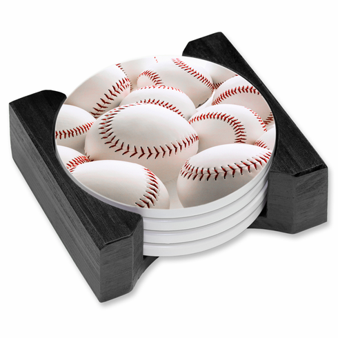 White Baseballs Set of 4 Ceramic Drink Coasters with Wood Base