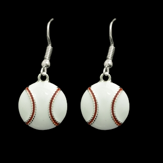 White Epoxy Baseball Earrings