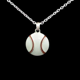 White Epoxy Baseball Necklace