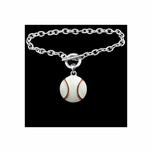 White Epoxy Baseball Toggle Bracelet