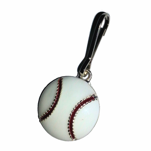 White Epoxy Baseball Zipper Pull