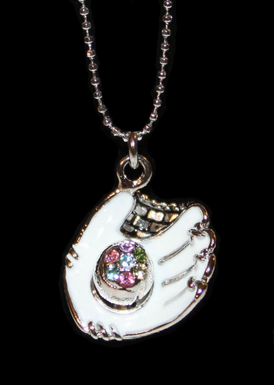"WEEKLY SPECIAL #14<br>White Glove Crystal Baseball 17"" Necklace"