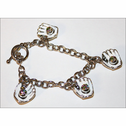 White Gloves Crystal Baseball Charm Bracelet<br>ONLY 1 LEFT!