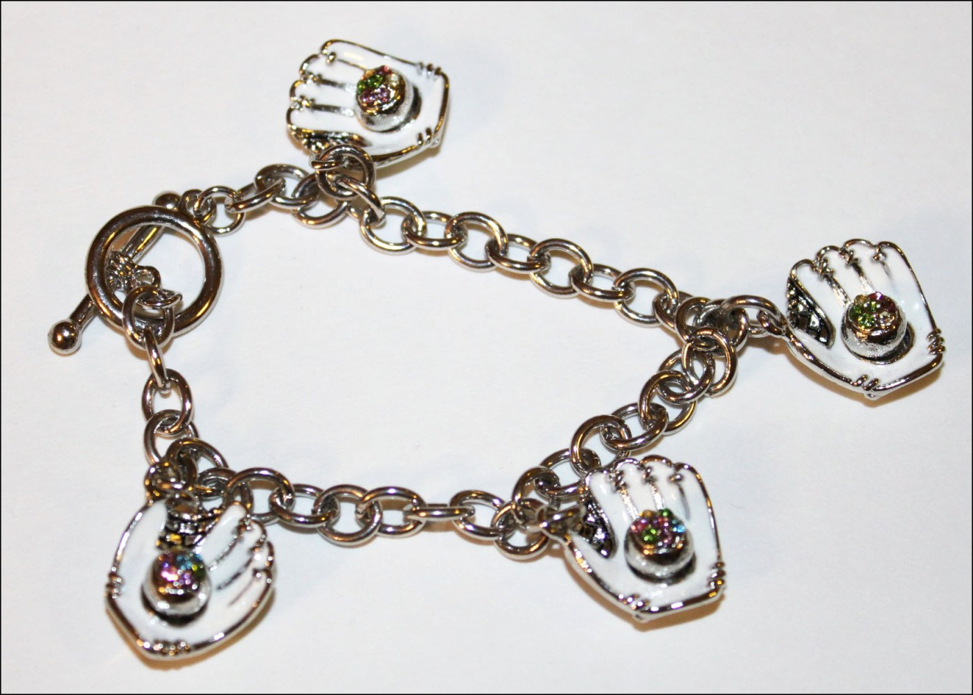 White Gloves Crystal Baseball Charm Bracelet