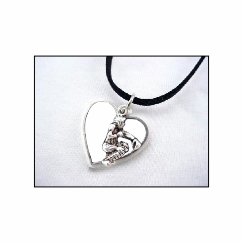 White Heart Baseball Catcher Necklace<br>RETIRED DESIGN!<br>ONLY 10 LEFT!