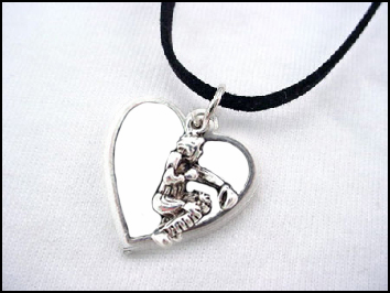 White Heart Baseball Catcher Necklace