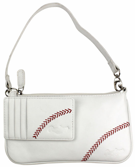 White Leather Baseball Stitch Wristlet / Mini Purse with Keyring Card Case by Rawlings<br>LESS THAN 8 LEFT!