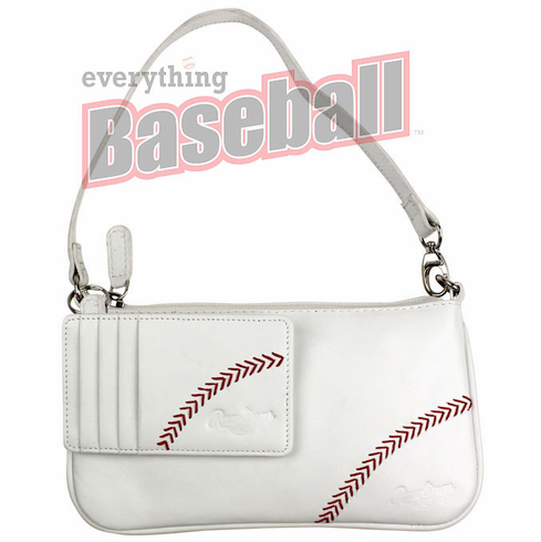 White Leather Baseball Stitch Wristlet / Mini Purse with Keyring Card Case by Rawlings<br>LESS THAN 3 LEFT!